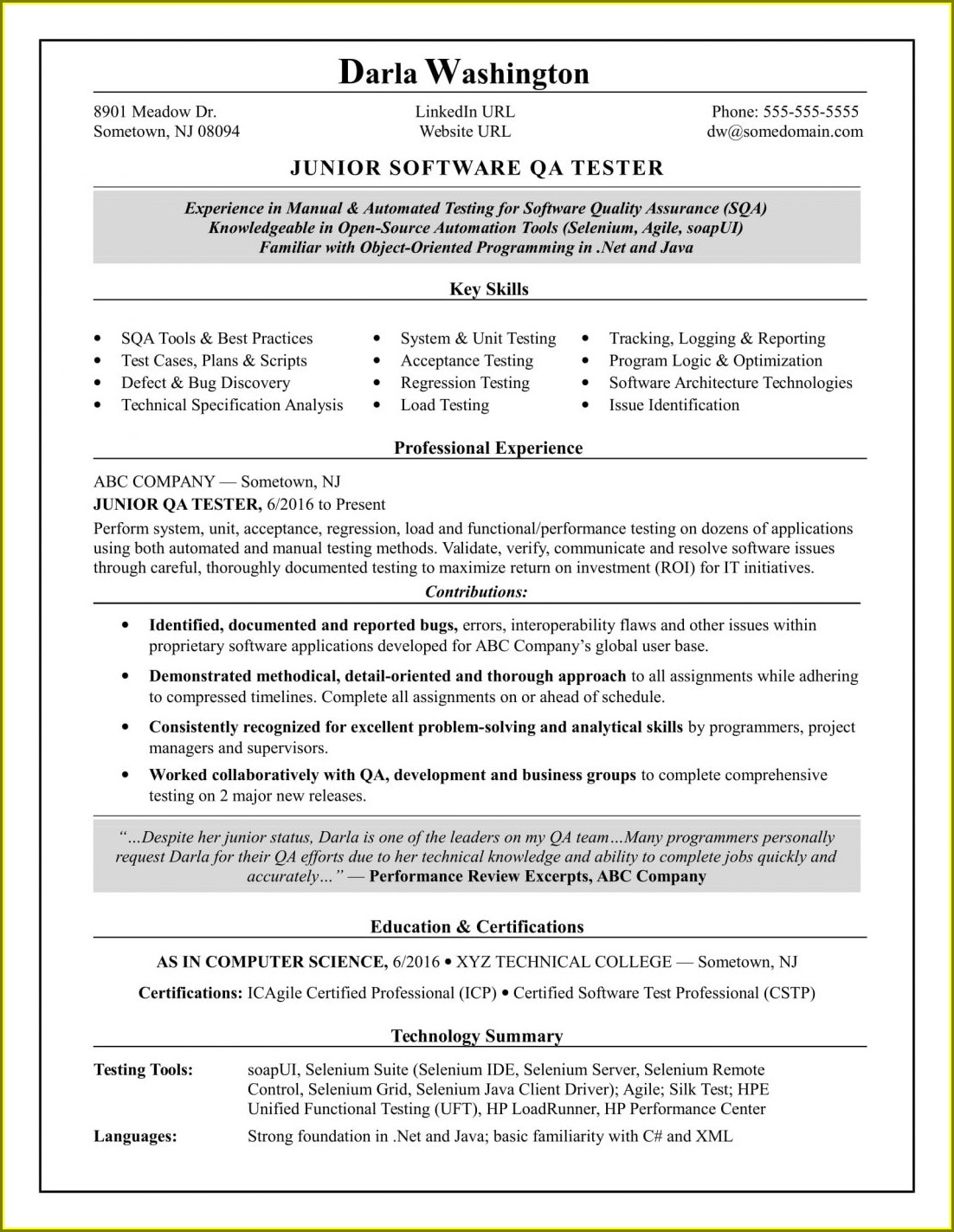 Resume Format Doc For Fresher Engineering Student