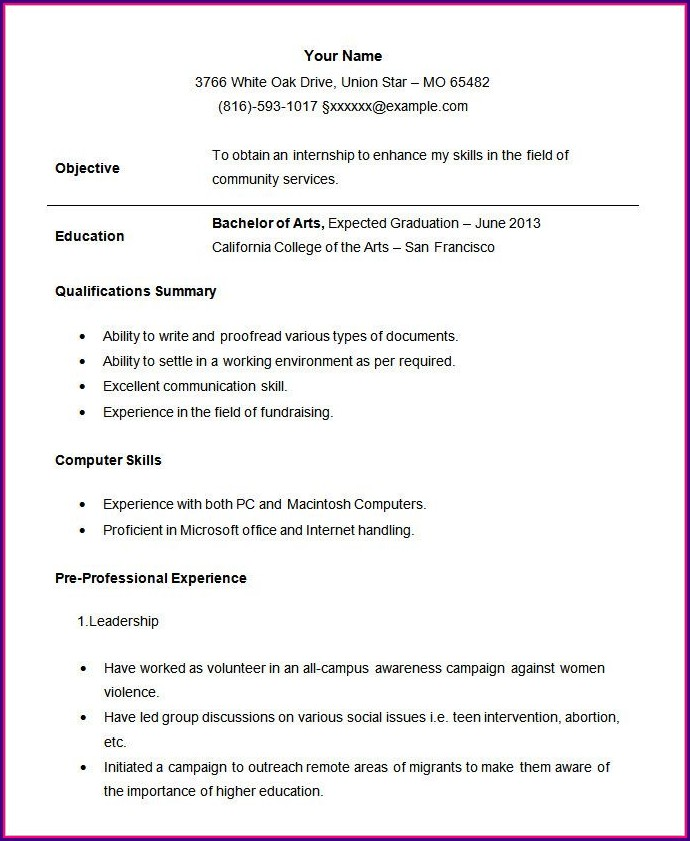 Resume Format Examples For College Students