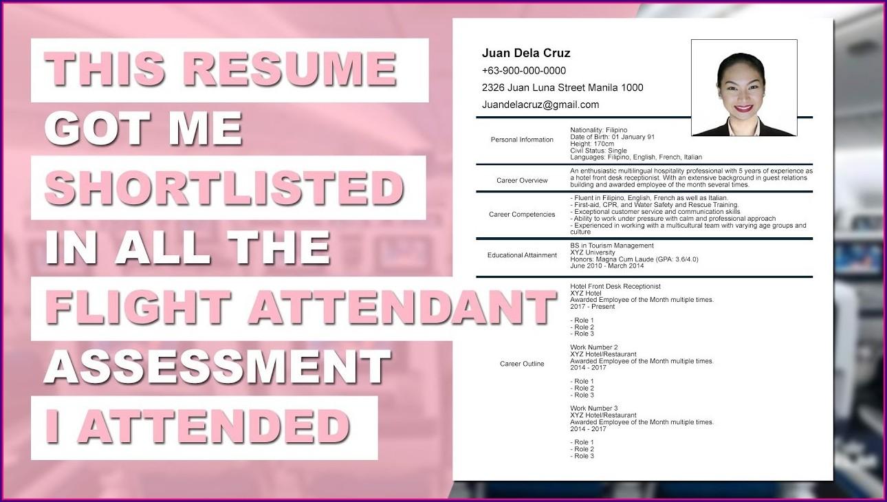 Resume Format Flight Attendant No Experience
