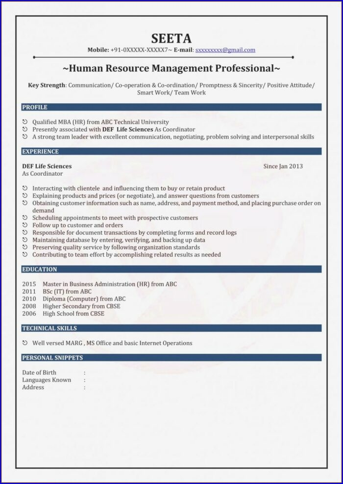Resume Format For Mba Freshers Free Download