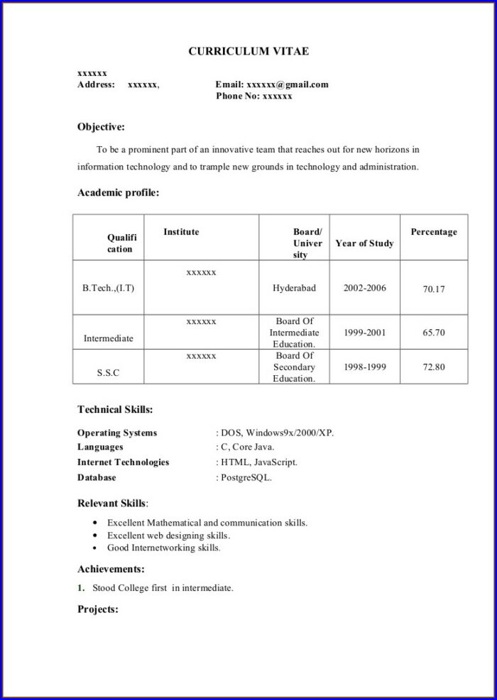 Resume Format For Mba Freshers Pdf Free Download
