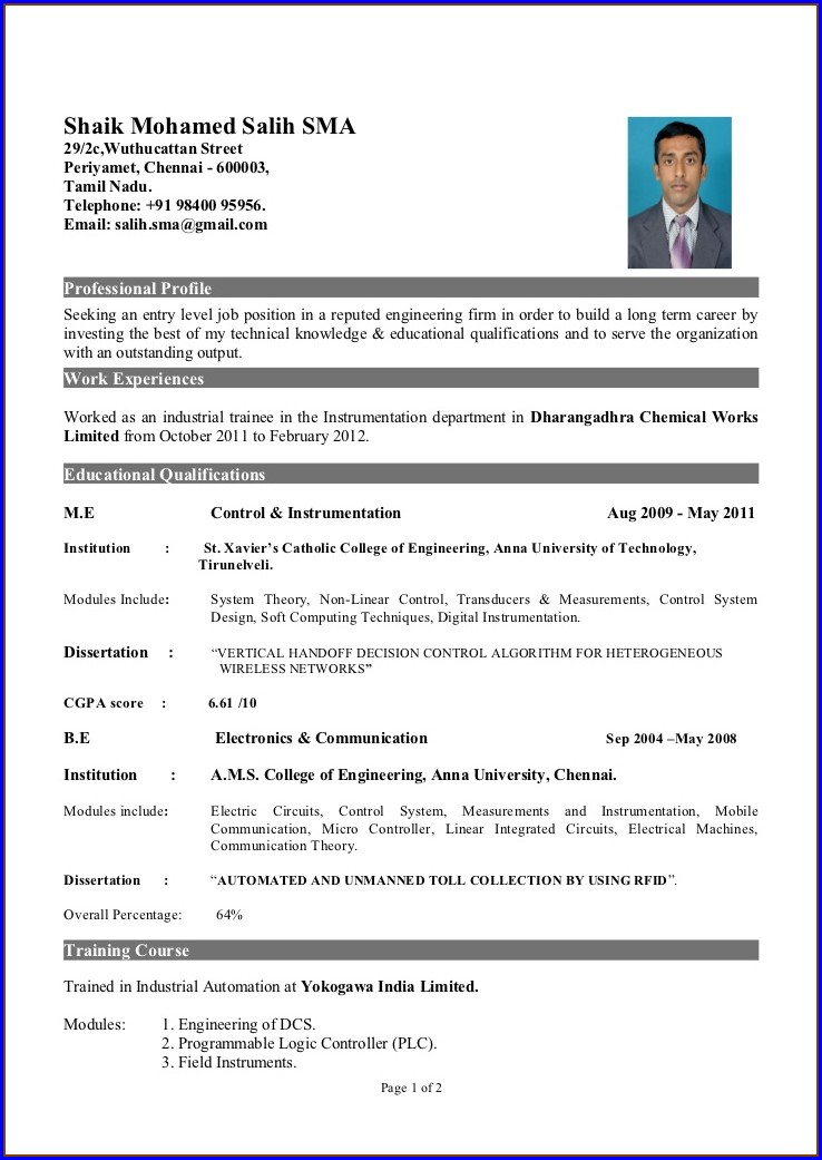 Resume Format Pdf Download For Freshers Bca