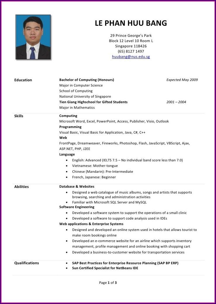 Resume Format Singapore