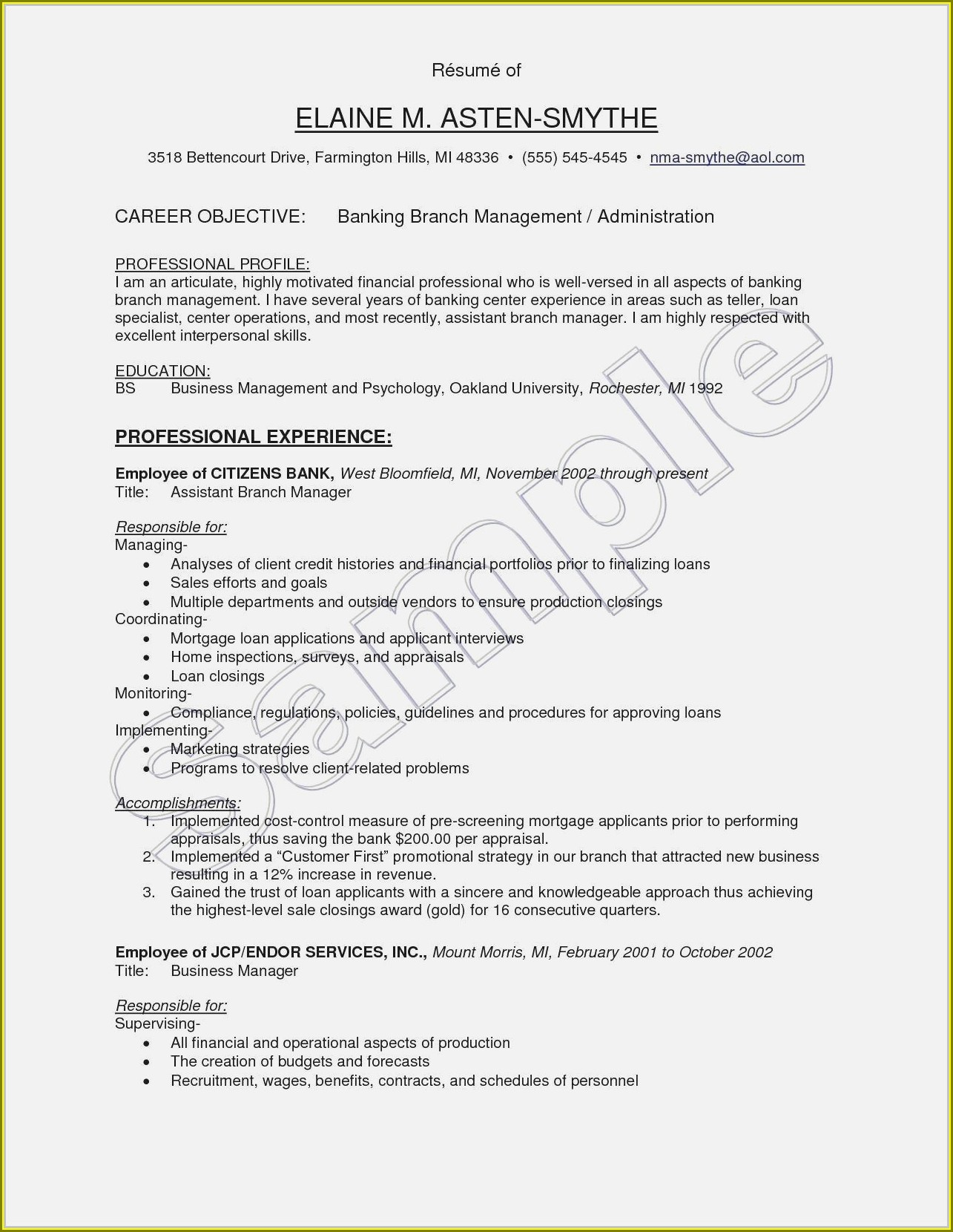 Resume Objective Samples For Experienced Professionals
