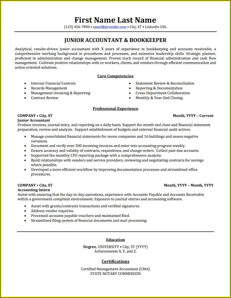 Resume Sample For Accountants