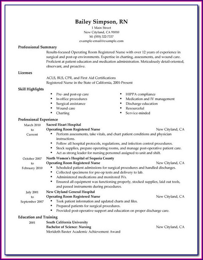 Resume Sample For Registered Nurse
