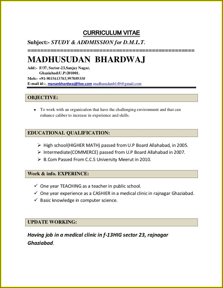 Resume Sample For Teacher Job In India