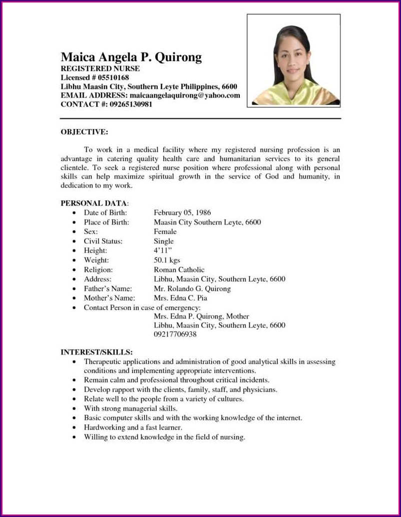 Resume Sample Format For Job Application Philippines