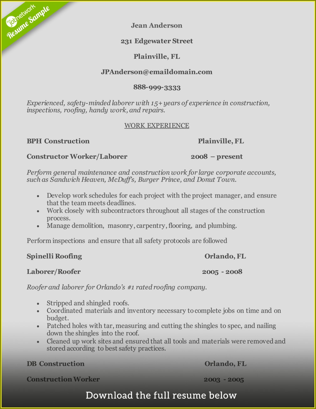 Resume Samples For Construction Workers