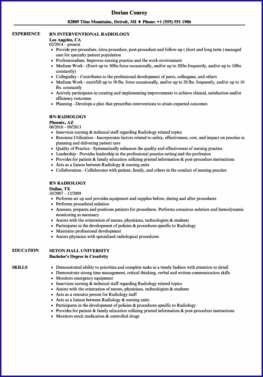 Resume Samples For Nursing Positions