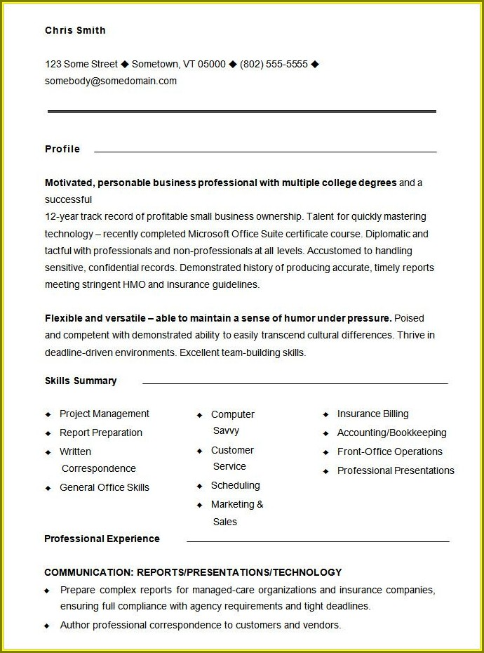 Resume Samples Templates Free Download