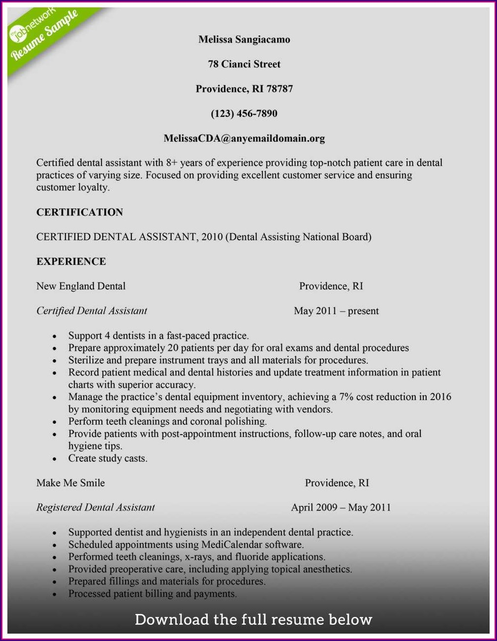Resume Template For Dental Assistant