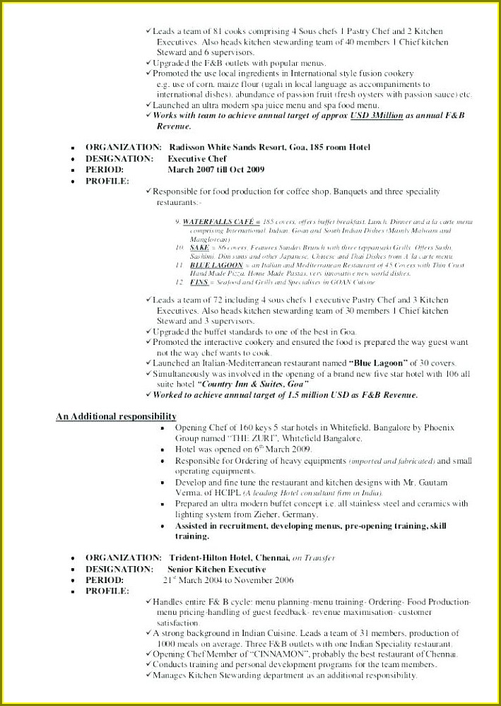 Resume Template For Executive Chef