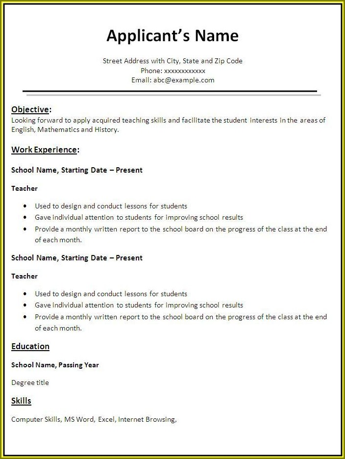 Resume Template For Teacher Job