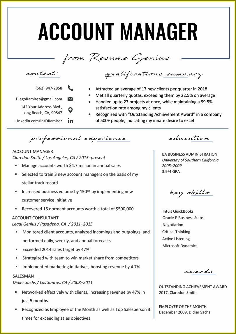 Resume Templates For Account Manager
