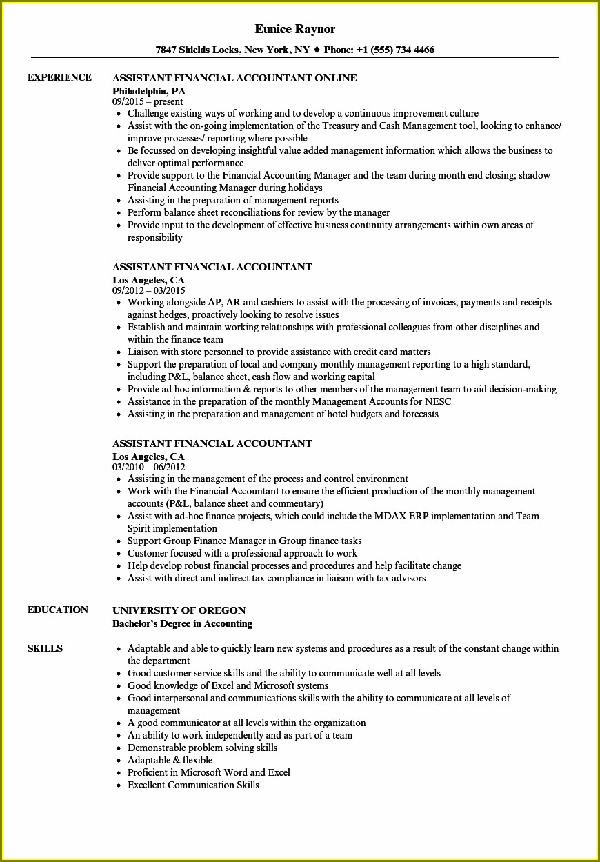 Resume Templates For Accounts Assistant