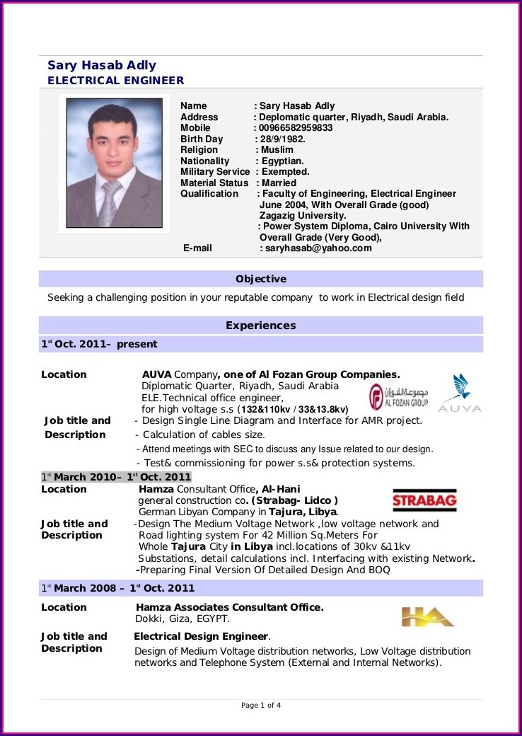 Resume Templates For Electrical Engineers