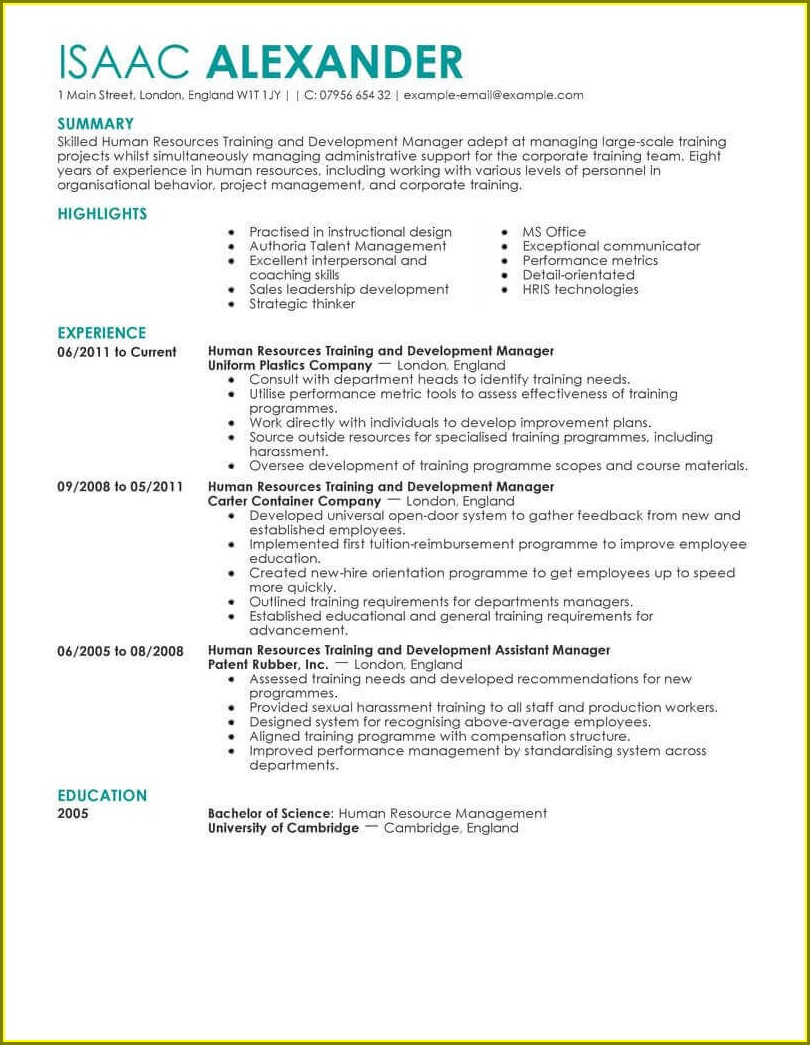 Resume Templates For Hr Professionals