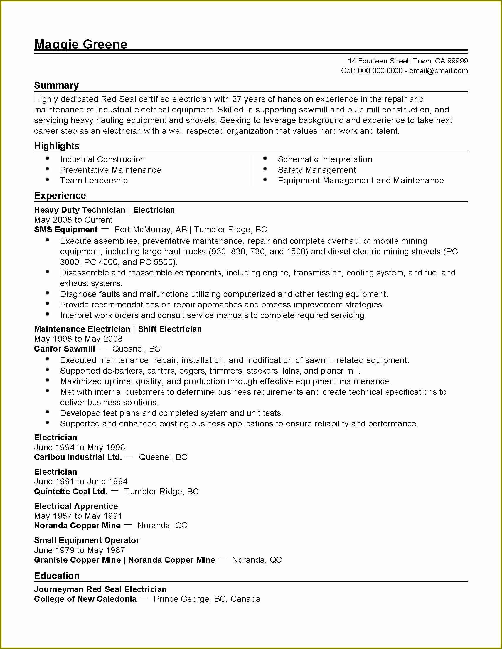 Resume Templates For Industrial Electrician