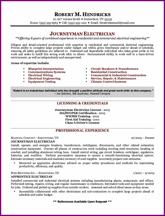 Resume Templates For Journeyman Electricians