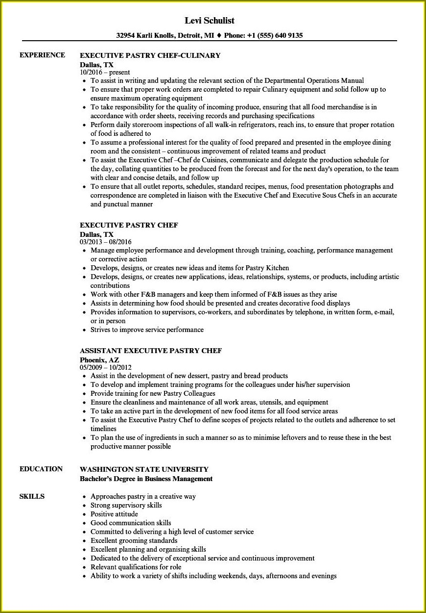 Resume Templates For Pastry Chefs