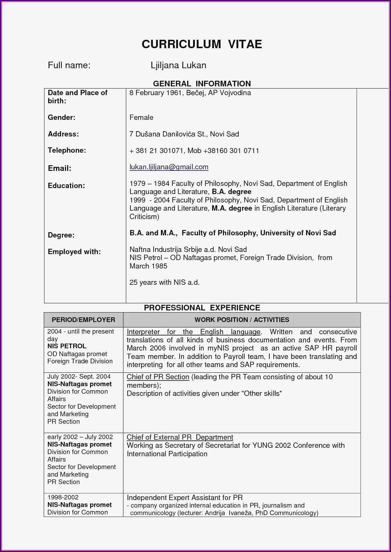 Resume Templates For Senior Management