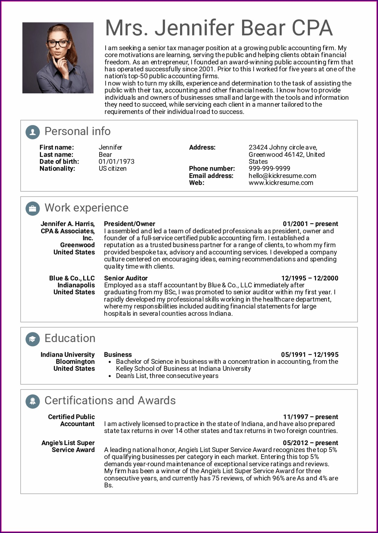 Resume Templates Senior Management Positions