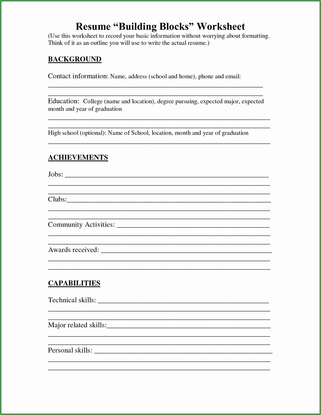 Resume Writing Worksheet High School