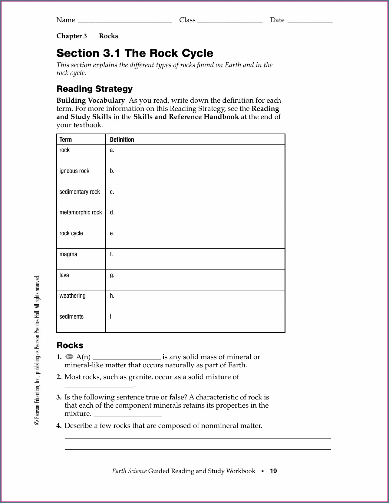 Rock Cycle Worksheet Pearson