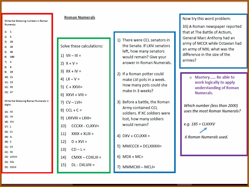 Roman Numerals Exercises Pdf