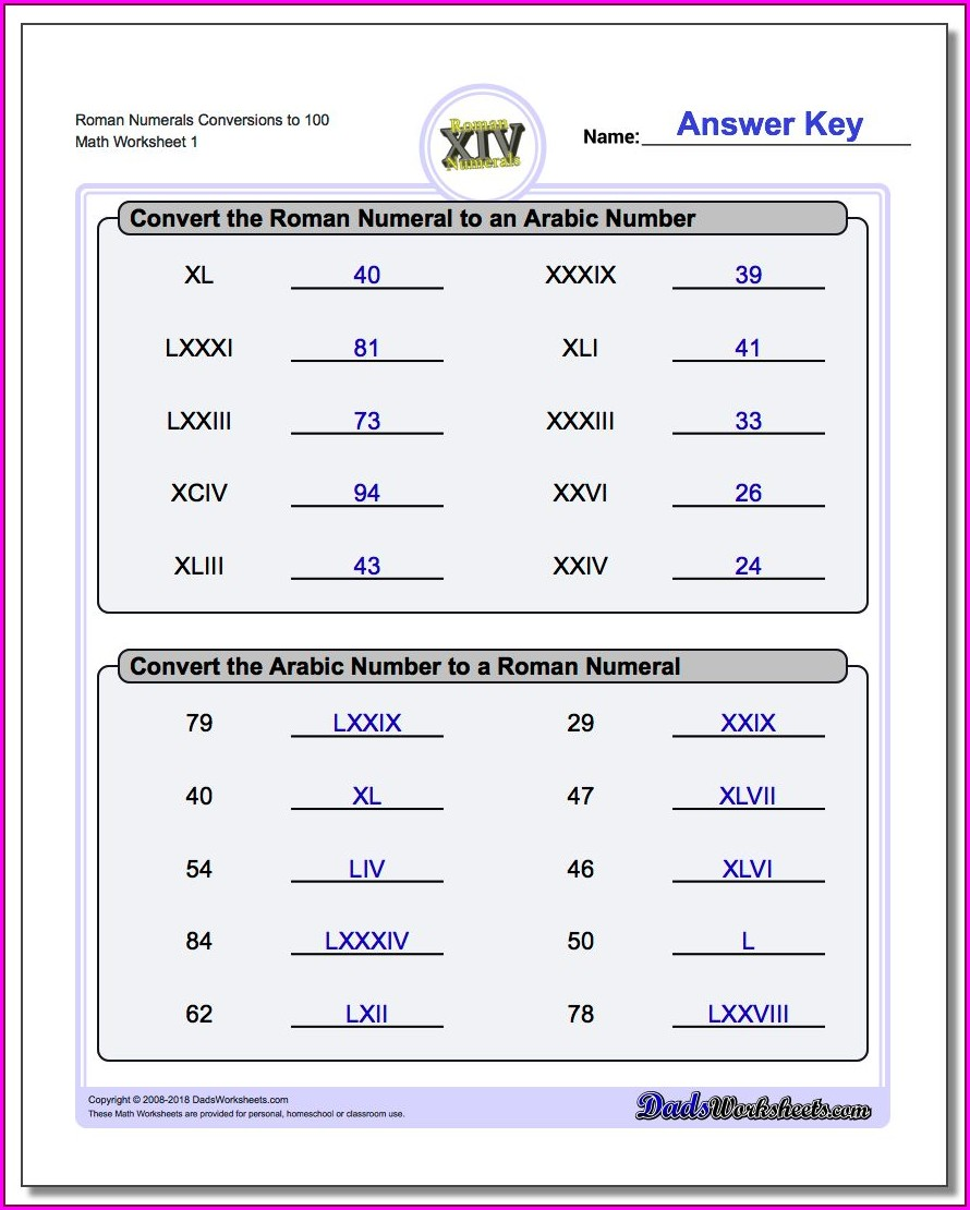 Roman Numerals Worksheet For Grade 2 Pdf