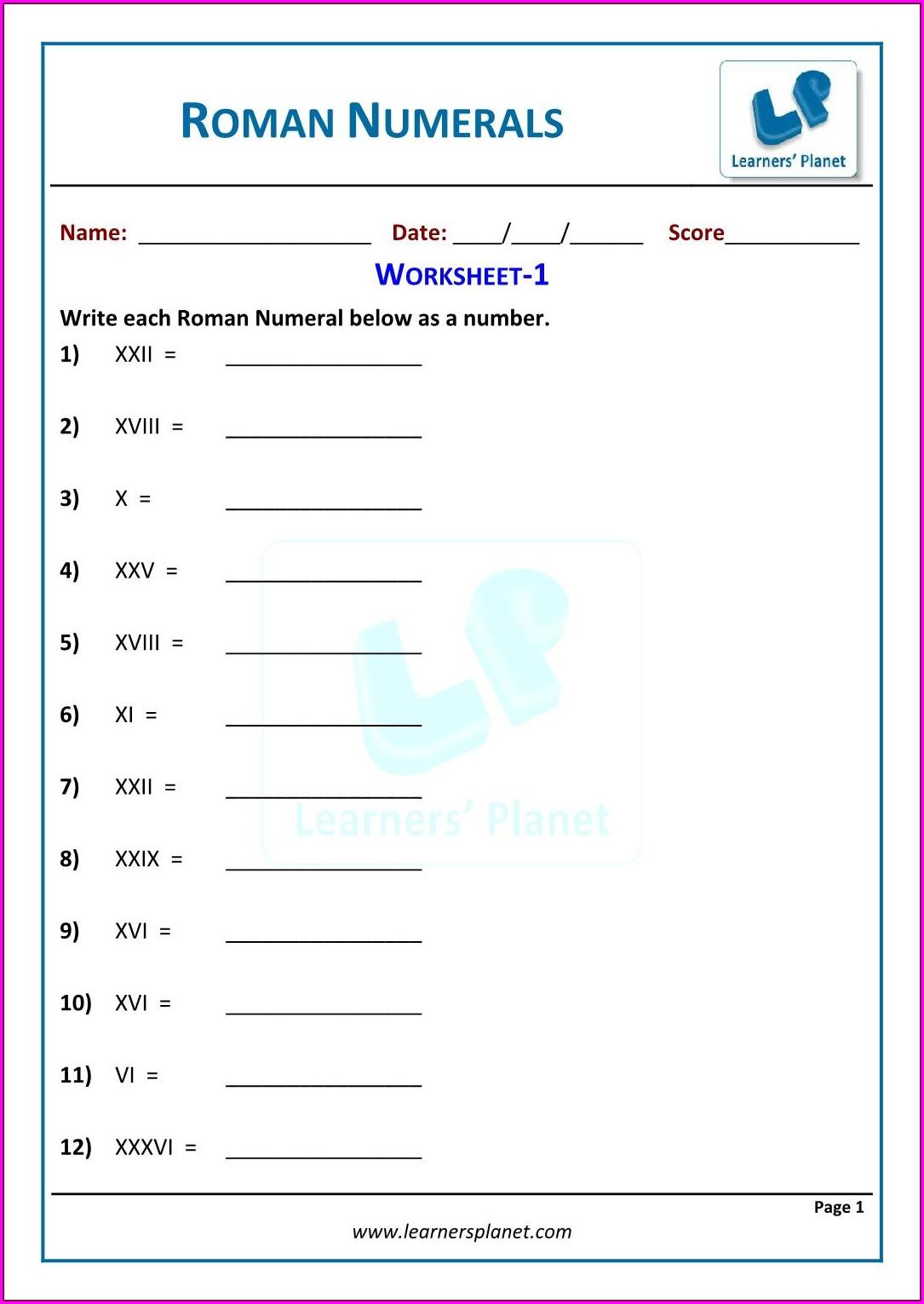 Roman Numerals Worksheet For Grade 2