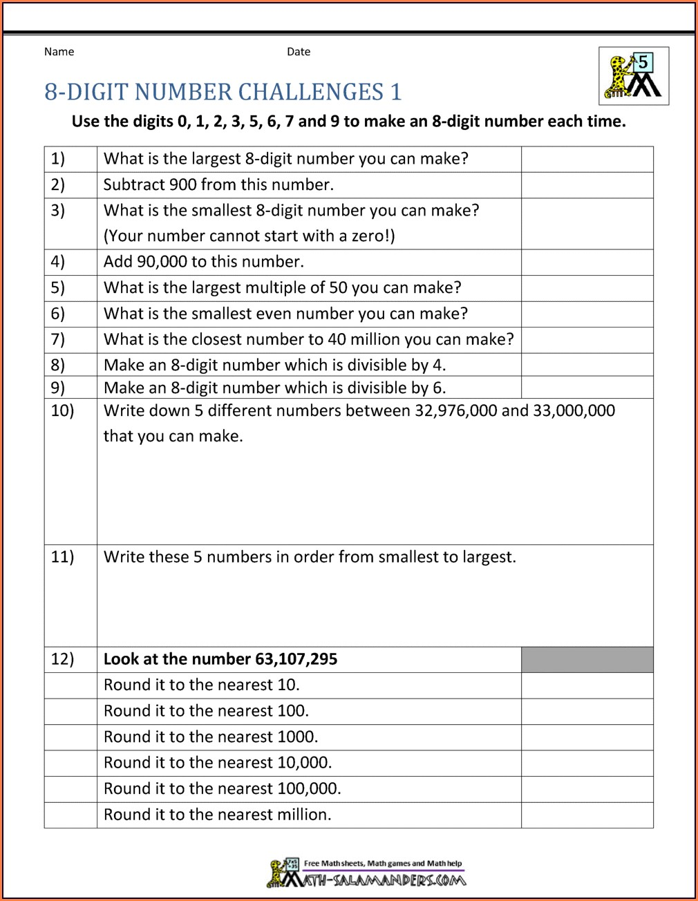 Rounding Numbers Millions Worksheets