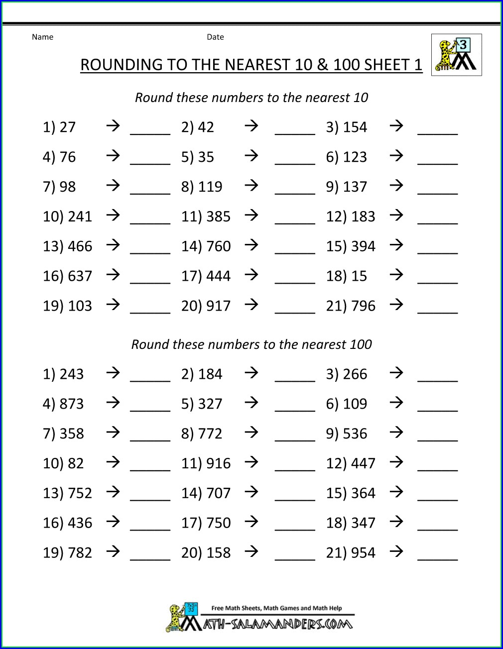Rounding Numbers To The Nearest 10 Worksheet Grade 3