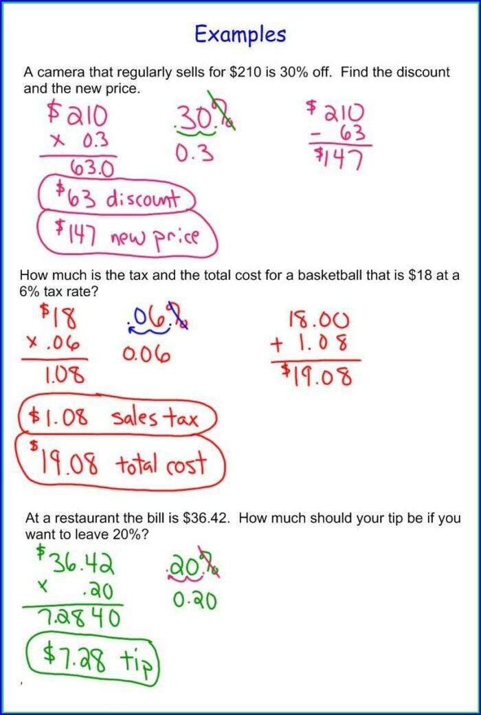 Sale Tax Worksheet Math