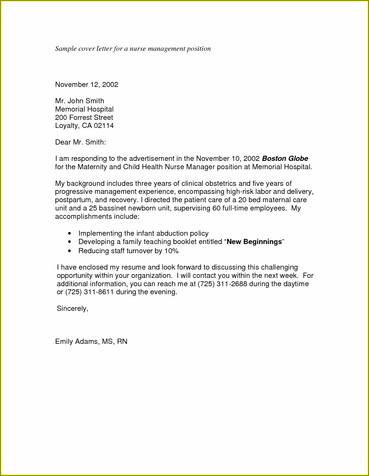 Sample Cover Letter For Nursing Job Application