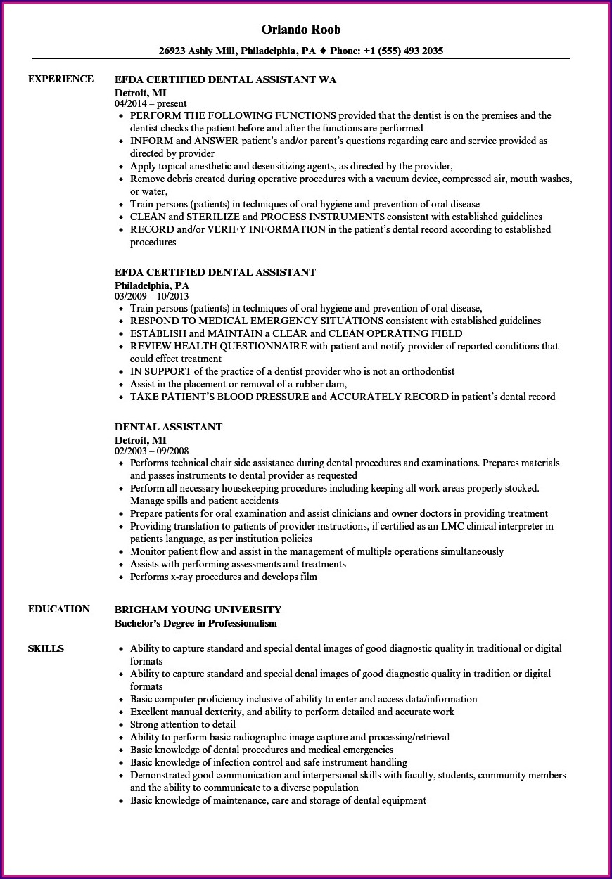 Sample Dental Assistant Resume