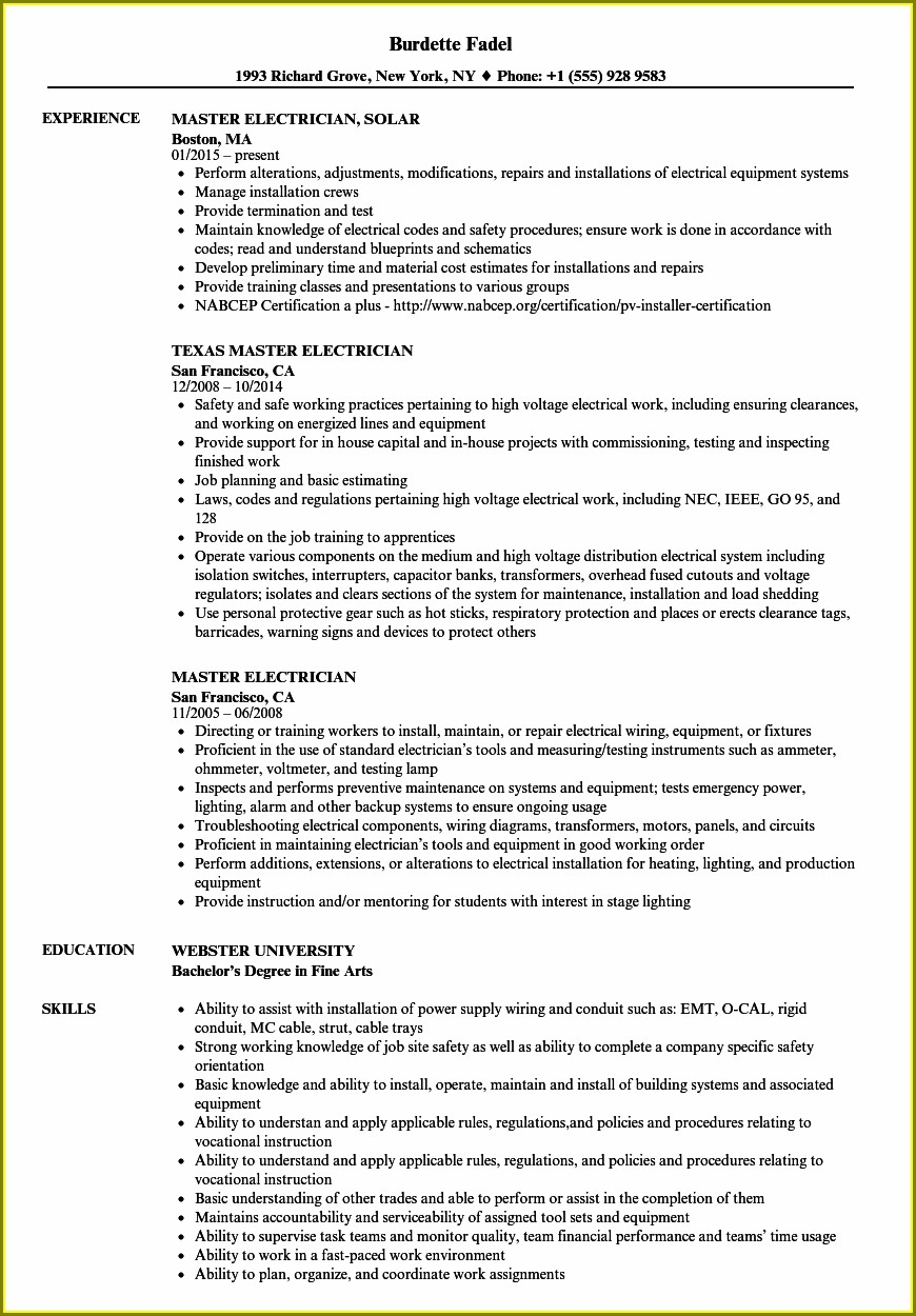 Sample Objective In Resume For Electrical Technician