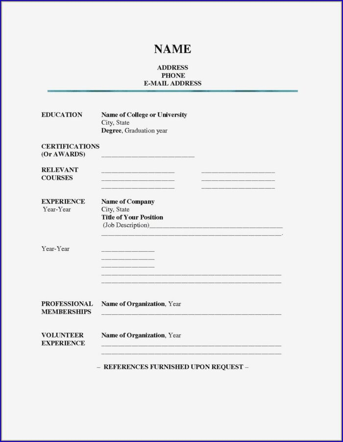 Sample Resume Fill In The Blank Pdf