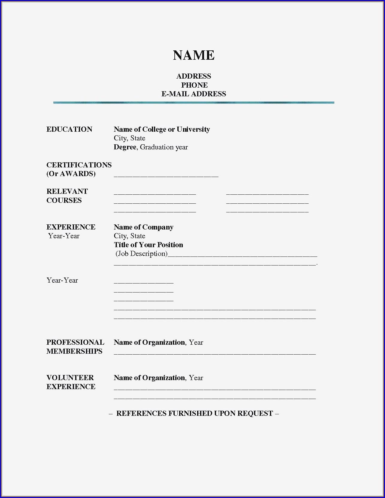 Sample Resume Fill In The Blank Pdf