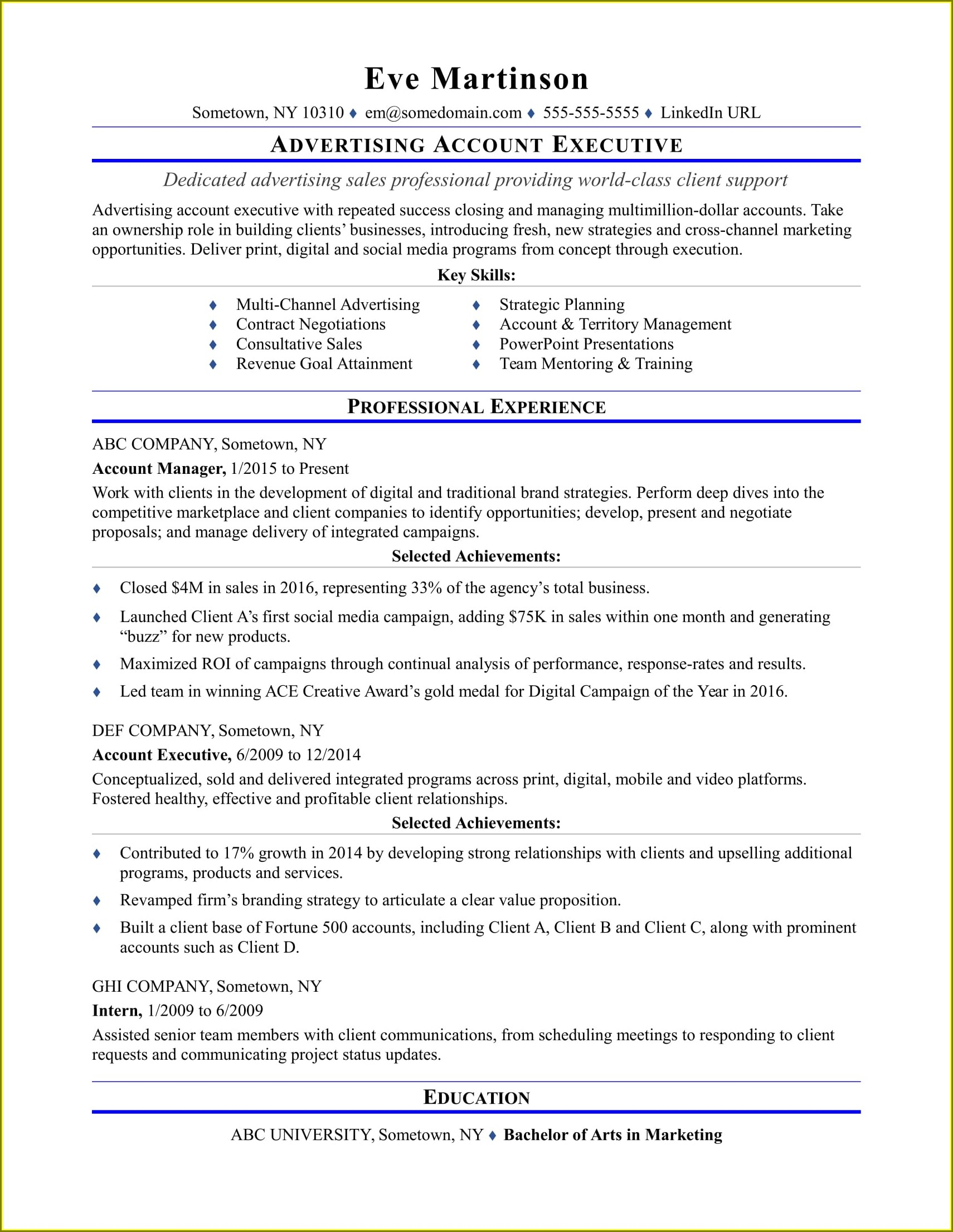 Sample Resume For Account Executive In Malaysia