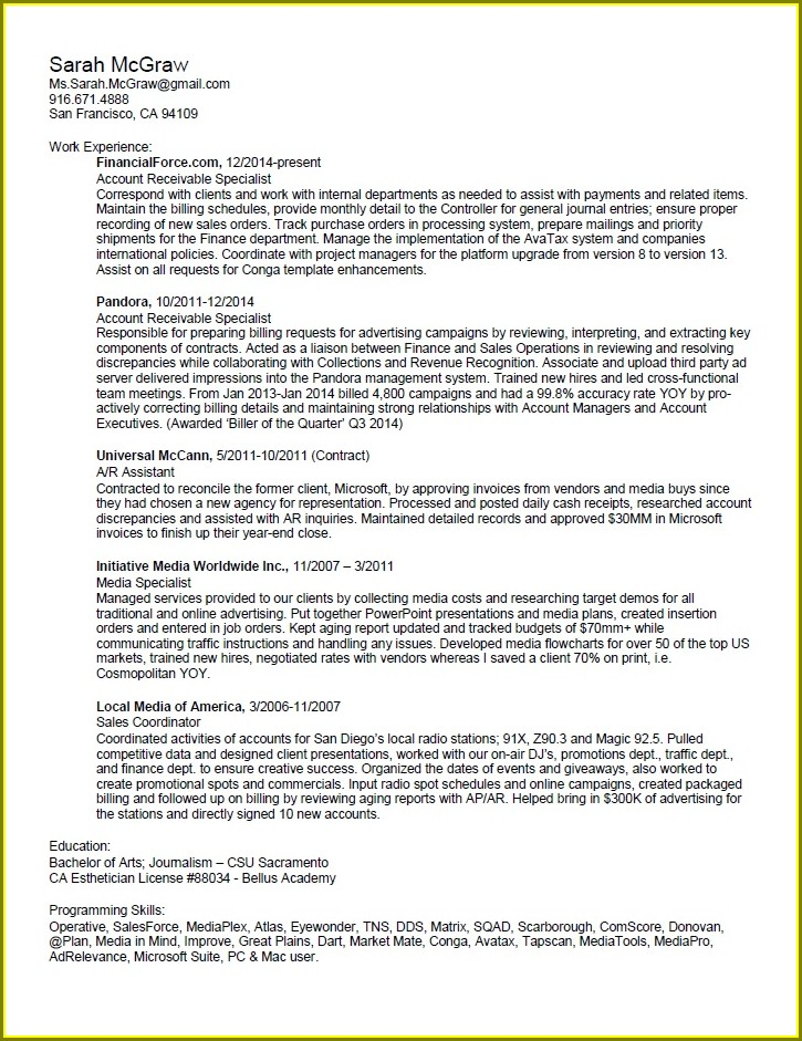Sample Resume For Accounts Receivable Specialist