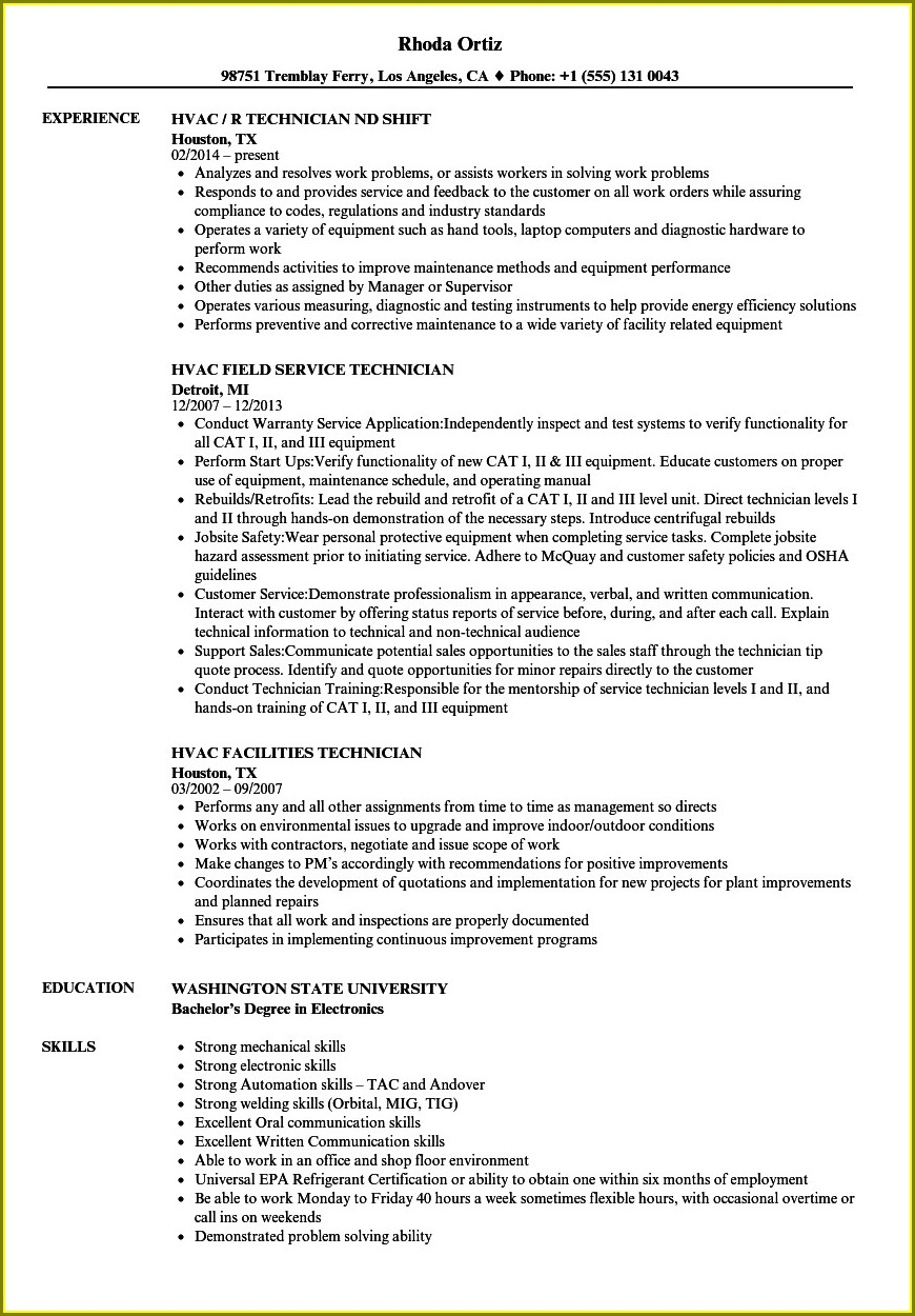 Sample Resume For Hvac Service Technician