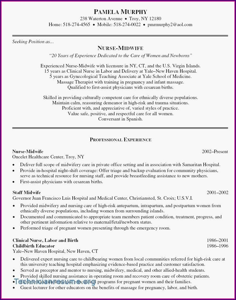 Sample Resume For Nursing Position