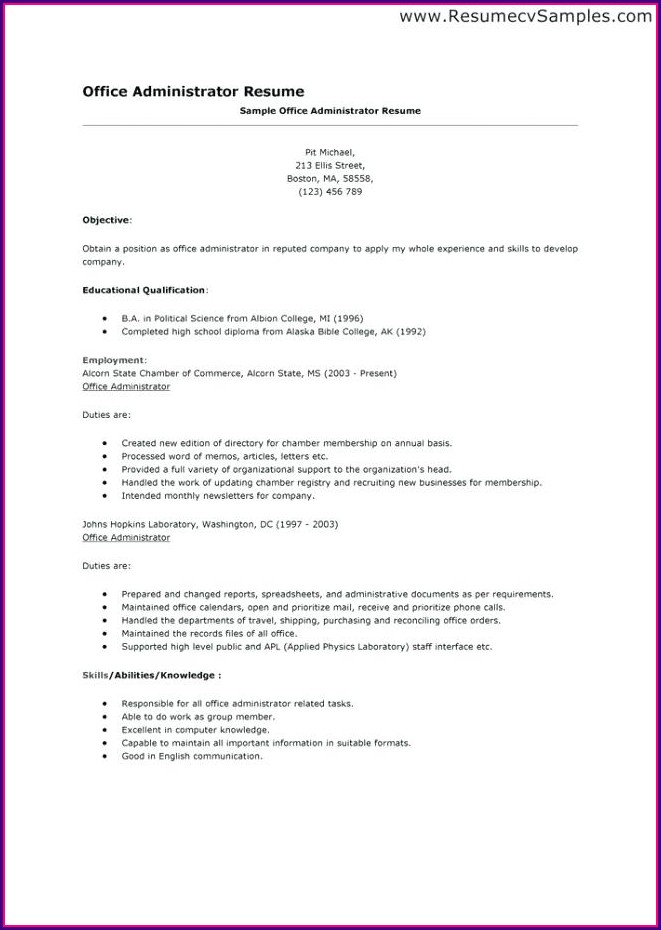 Sample Resume For Office Administration Job
