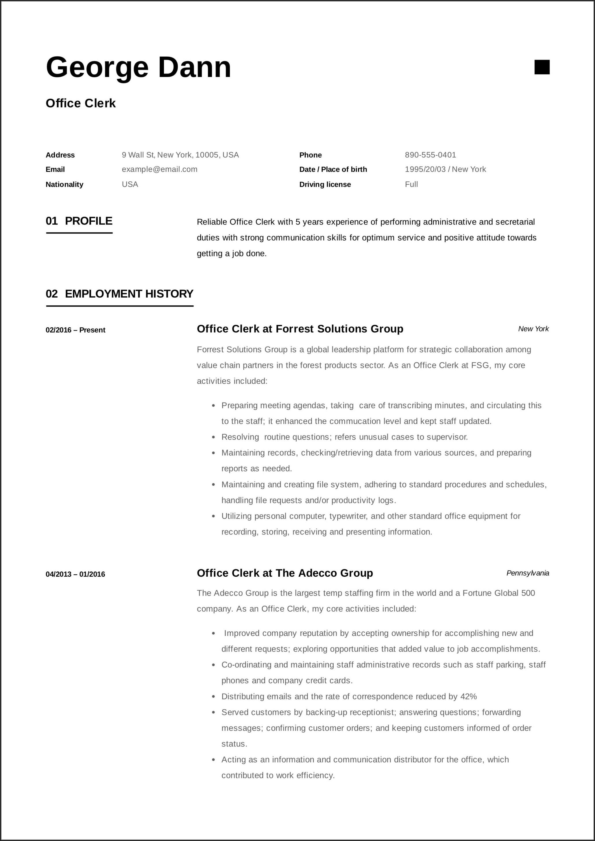 Sample Resume For Office Worker