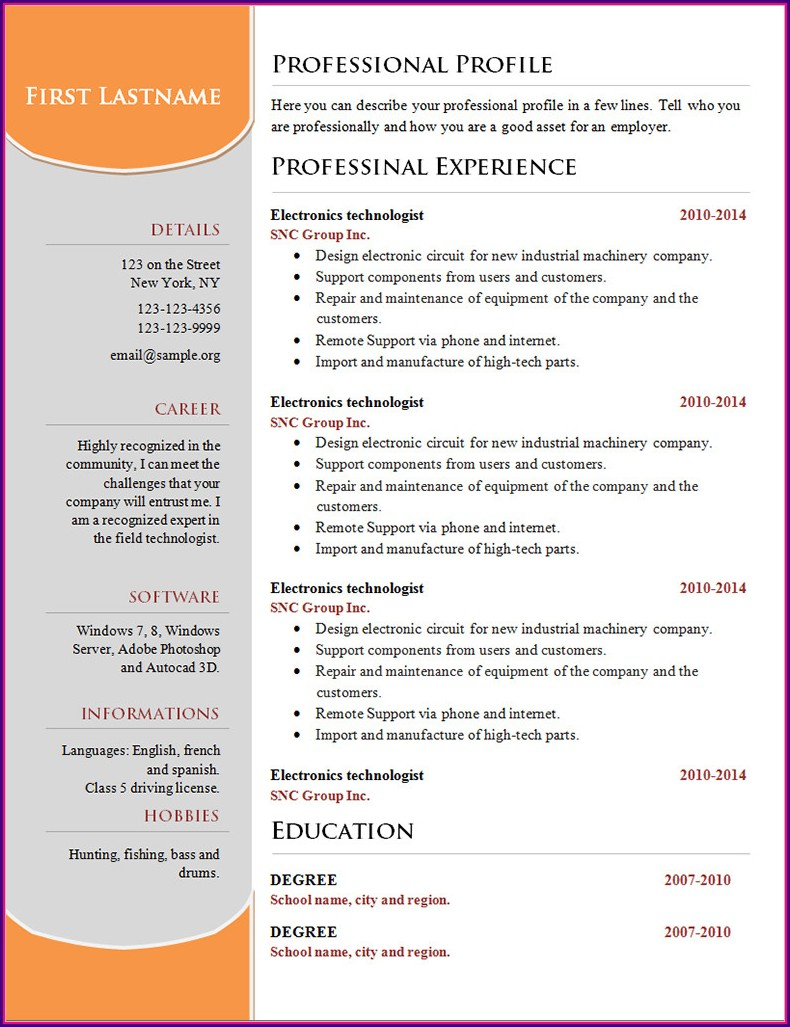 Sample Resume Format Microsoft Word