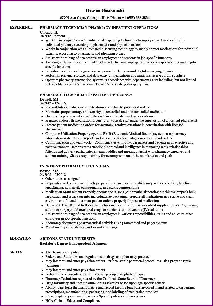 Sample Resume Objectives Pharmacy Technician