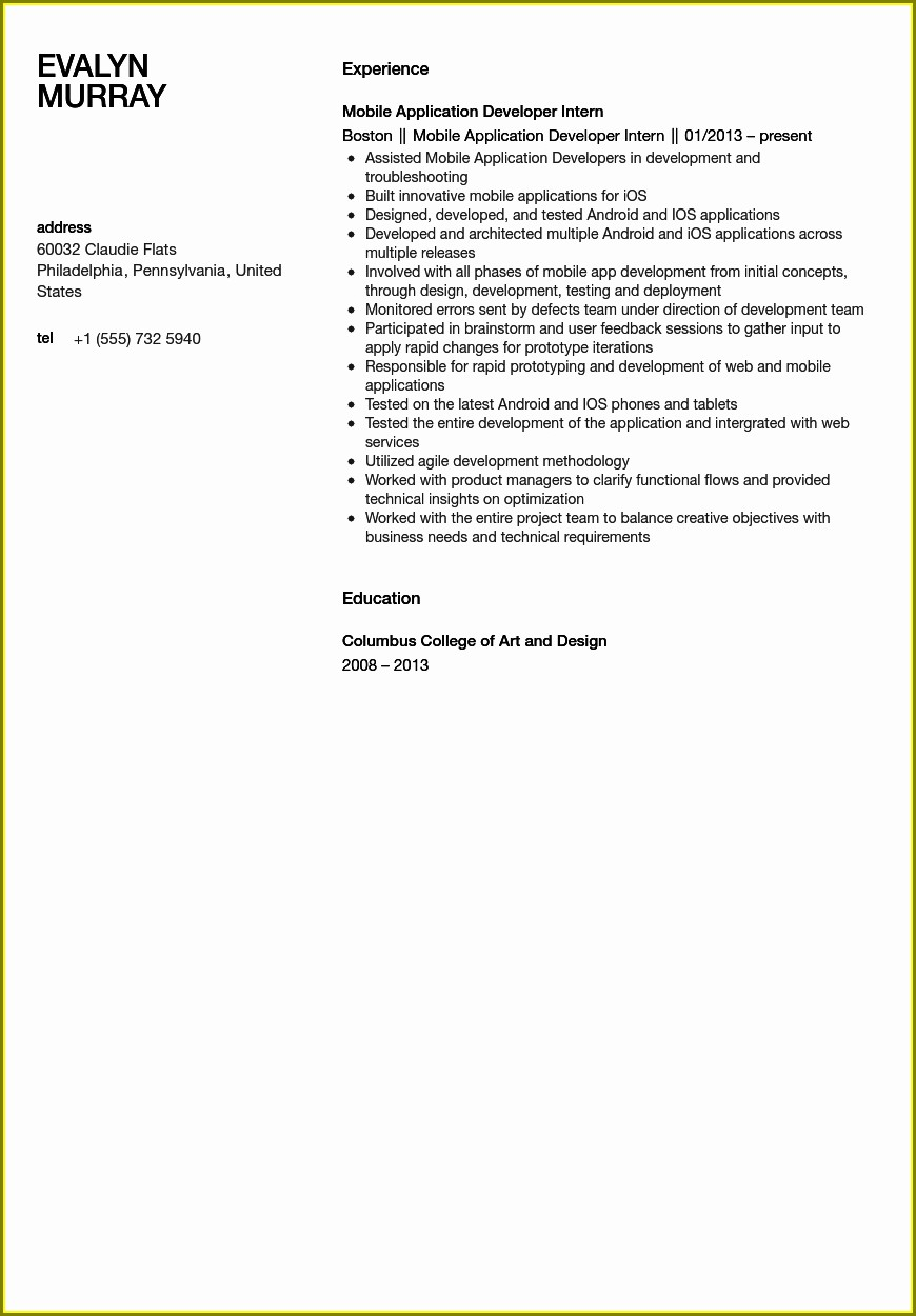 Sample Resume Template Free Download