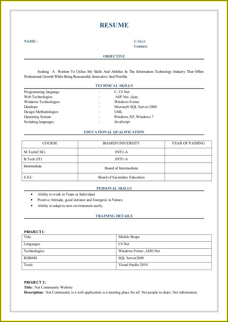Sample Resumes Download For Freshers